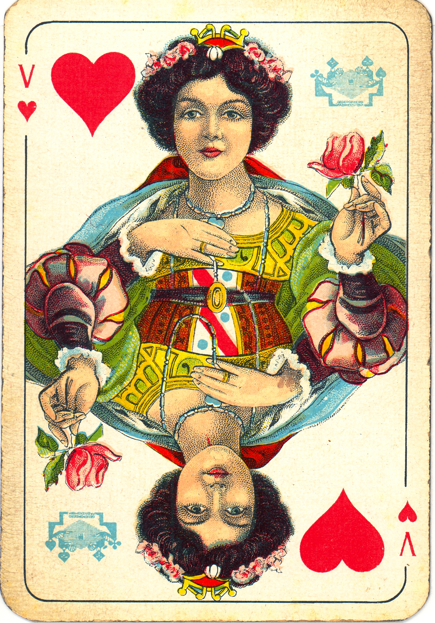 dutch playing cards from 1920 1927 queen of hearts. Black Bedroom Furniture Sets. Home Design Ideas