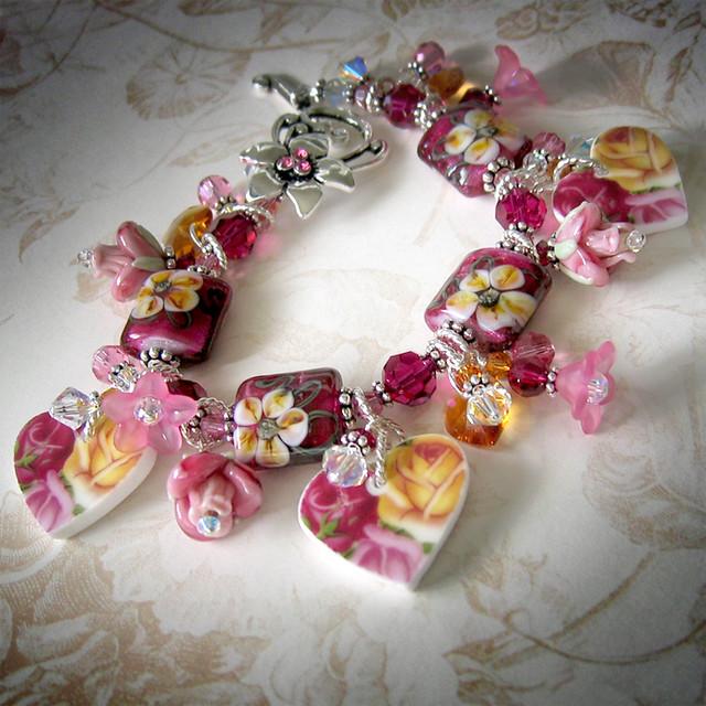 Broken China Heart Charm Bracelet