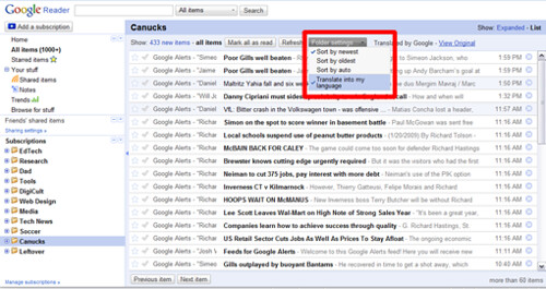 Google Translate inside Google Reader