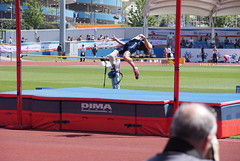 hurdle(0.0), physical exercise(0.0), athletics(1.0), track and field athletics(1.0), sports(1.0), pole vault(1.0), high jump(1.0), person(1.0), stadium(1.0), athlete(1.0),