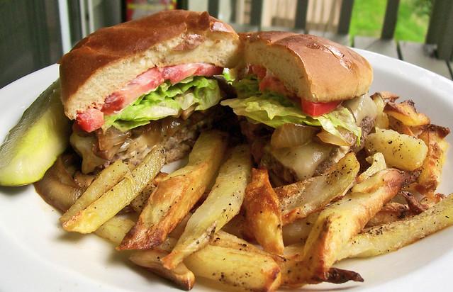 Blue Cheese Burger & Garlic Fries | Flickr - Photo Sharing!