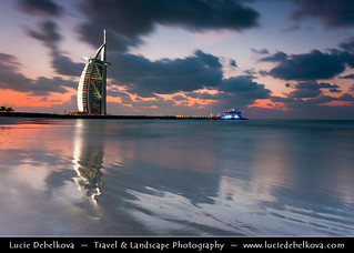 UAE - Dubai Skyline - Blue hour at Burj Al Arab 7* Hotel