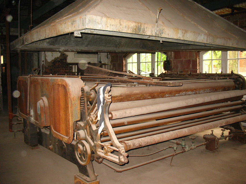 Abandoned Ellis Island: giant laundry press