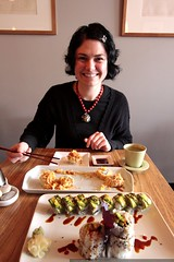 halfway through a really good sushi lunch with rachel
