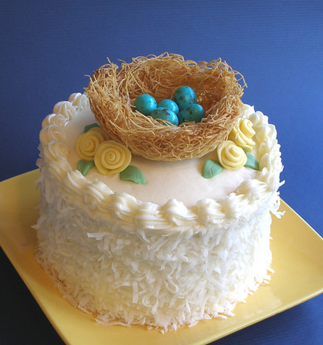 Mother's Day Mama Bird Cake-Nest with eggs