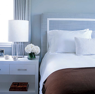 Calm, understated blue & brown bedroom: 'Gossamer Blue' by ...