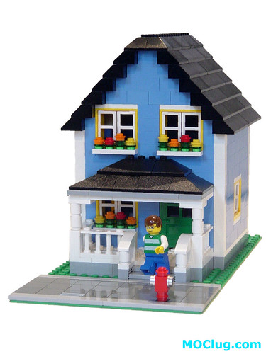 Moc lime green house lego town eurobricks forums for Lego classic house instructions