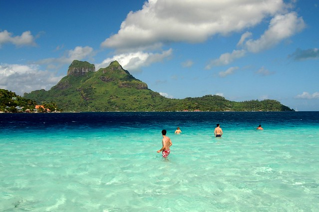 Swimming in Bora Bora lagoon