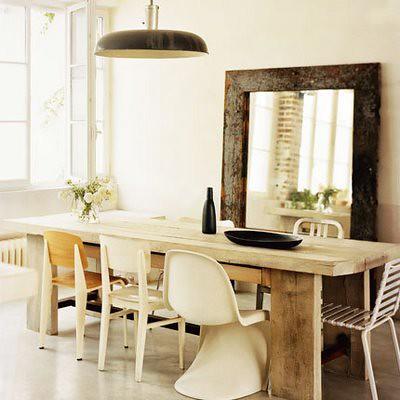 Rustic Eclectic Paris Loft White Dining Room Oversized Mirror Panton Chair