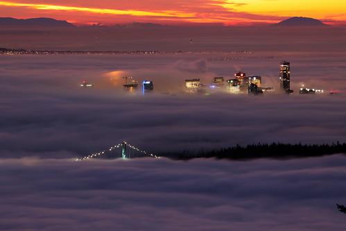 fog vancouver clouds sunrise cypress lionsgatebridge