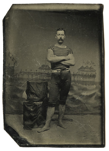 Tintype- Muscleman in Swimsuit Against Painted Backdrop, Atlantic City?