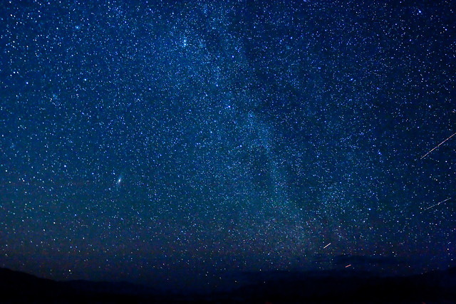 Stars over Death Valley with Cassiopeia and Andromeda Galaxy visible