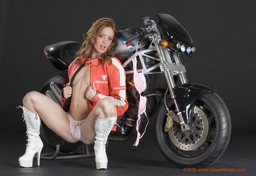Bike sexy babe boobs