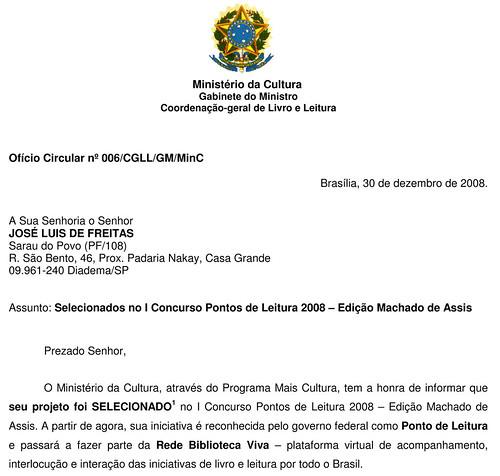 Mala direta do MinC - Coordenação Geral do Livro e Leitura