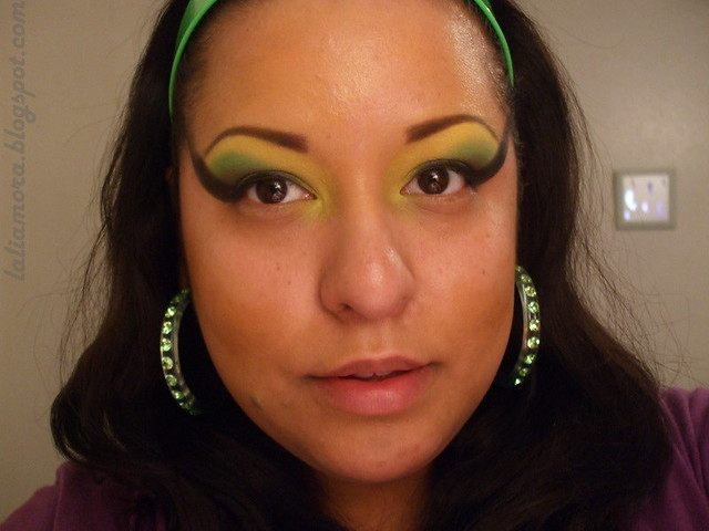 Yellow, green, black eyeshadows