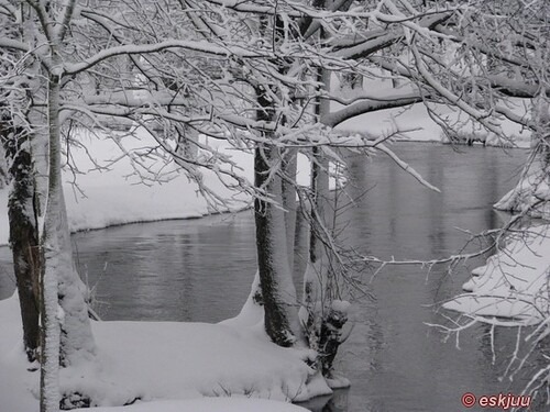 winter snow water landscape town latvia saldus