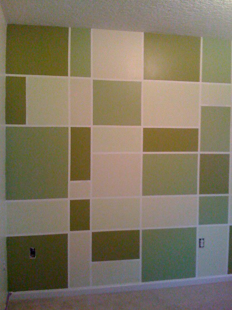 Nursery wall painted squares green tan flickr photo Design patterns wall painting