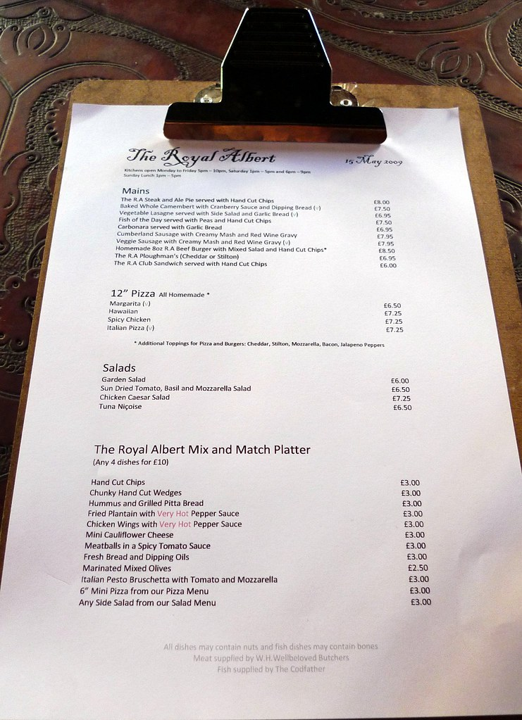Royal Albert New Cross Se14 The Main Menu Of The Day At