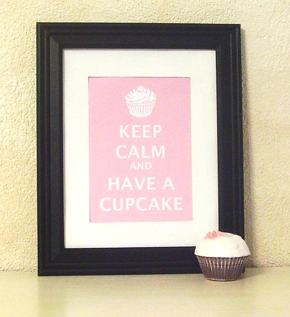 NEW SIZE Keep Calm And Have A Cupcake matted ready to frame print (pink)  5x7 fits 8x10 frame