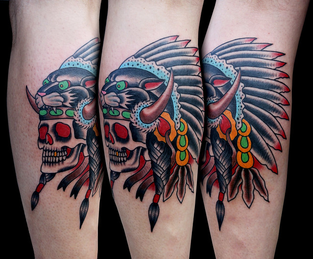 panther indian headdress tattoo