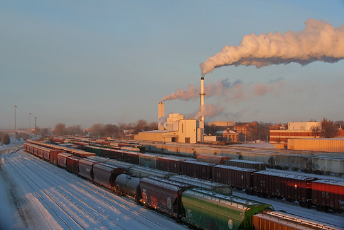 winter cold clouds train northdakota railyard bnsf grandforks steamcloud