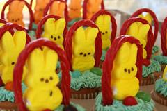 peeps, yellow, sweetness, cupcake, food, icing, dessert,