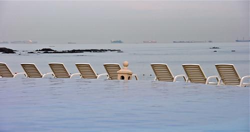 ocean sea beach water chairs horizon panama flickrexportdemo