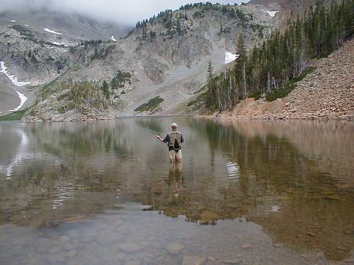 Fishing at Lake Agnes