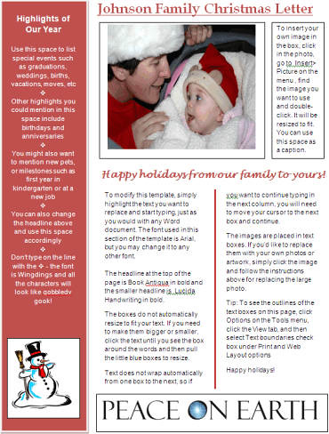 Word newsletter template for christmas red christmas for Christmas newsletter design ideas
