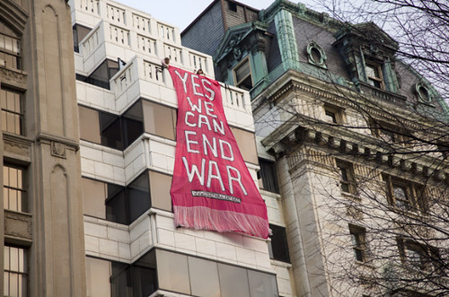 Yes We Can End War CODEPINK Banner Drop