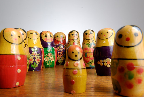 Russian Dolls Lined Up