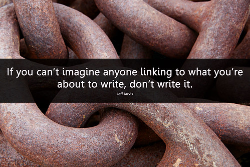 Photo of rusty links in a chain with a quote from Jeff Jarvis that says,