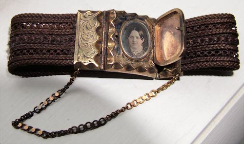 Daguerreotype Locket Clasp on Woven Hair Bracelet
