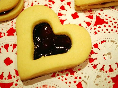 Raspberry Shortbread Hearts @ Vintage Victuals