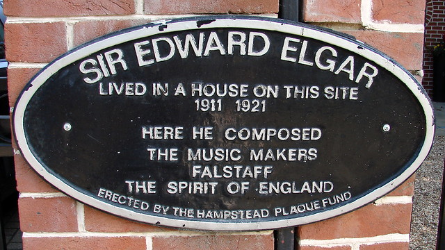 Edward Elgar black plaque - Sir Edward Elgar lived in a house on this site 1911 1921 Here he composed The Music Makers Falstaff The Spirit of England