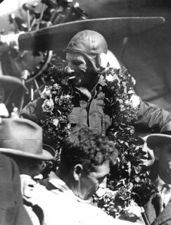 Sir Charles Kingsford-Smith on arrival in Brisbane after his record breaking flight