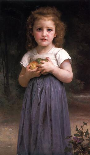 Petite fille tenant des pommes dans les mains  (93.5x55cm)