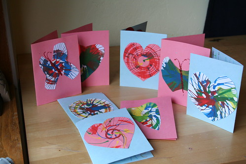 Spin Art Valentine's Day Cards for Lucas's Classmates