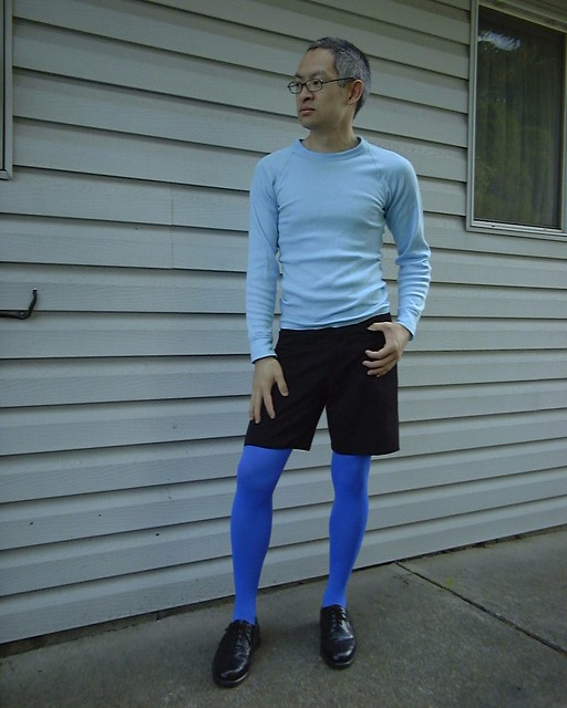 me wearing beautiful blue opaques
