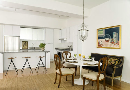 White kitchen + dining area: Modern-traditional mix in Boston apartment