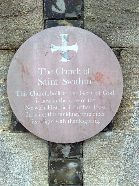 Photo of Church of Saint Swithin, Norwich brown plaque