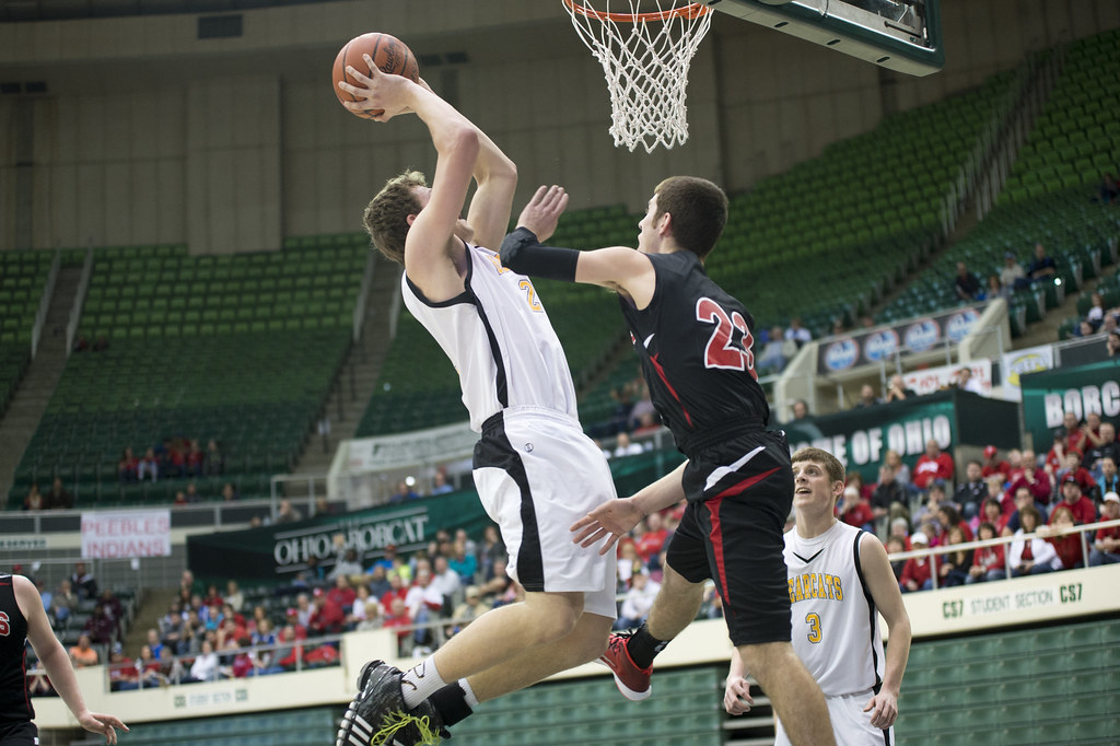Mason McCloy skies over Fairfield's Blake Hildebrant for the bucket.