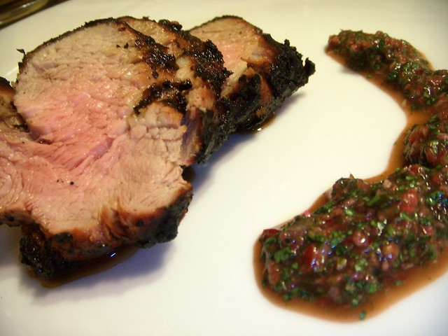 grilled pork loin with cherry chimichurri sauce | marinated ...