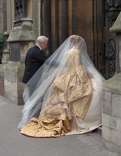 Gold corsetted wedding gown (used with permission of Harman Hay)