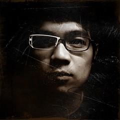 glasses, eyewear, vision care, cool, self-portrait, darkness, portrait, black,