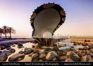 Qatar - Sunset over Pearl & Oyster Fountain on Doha Corniche