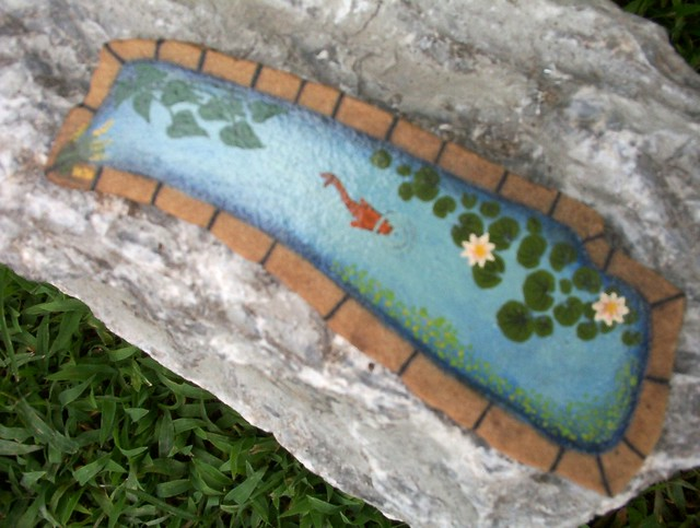 Hand painted rock small koi pond explore wytchehazel 39 s for Fish pond rocks