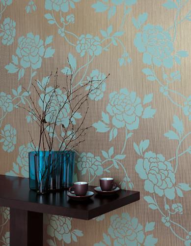 Modern wallpaper blue brown floral textured metallic for Vintage tapete wohnzimmer