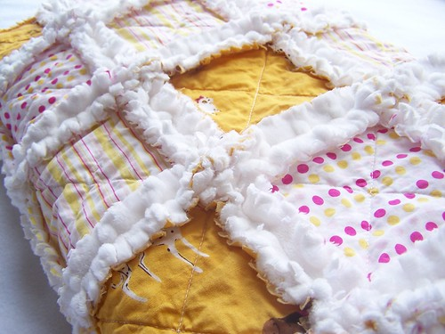 """Little Miss Goldie at the Dog Park"" Baby Rag Quilt"