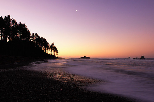 Moon Over Ruby Beach at Sunrise